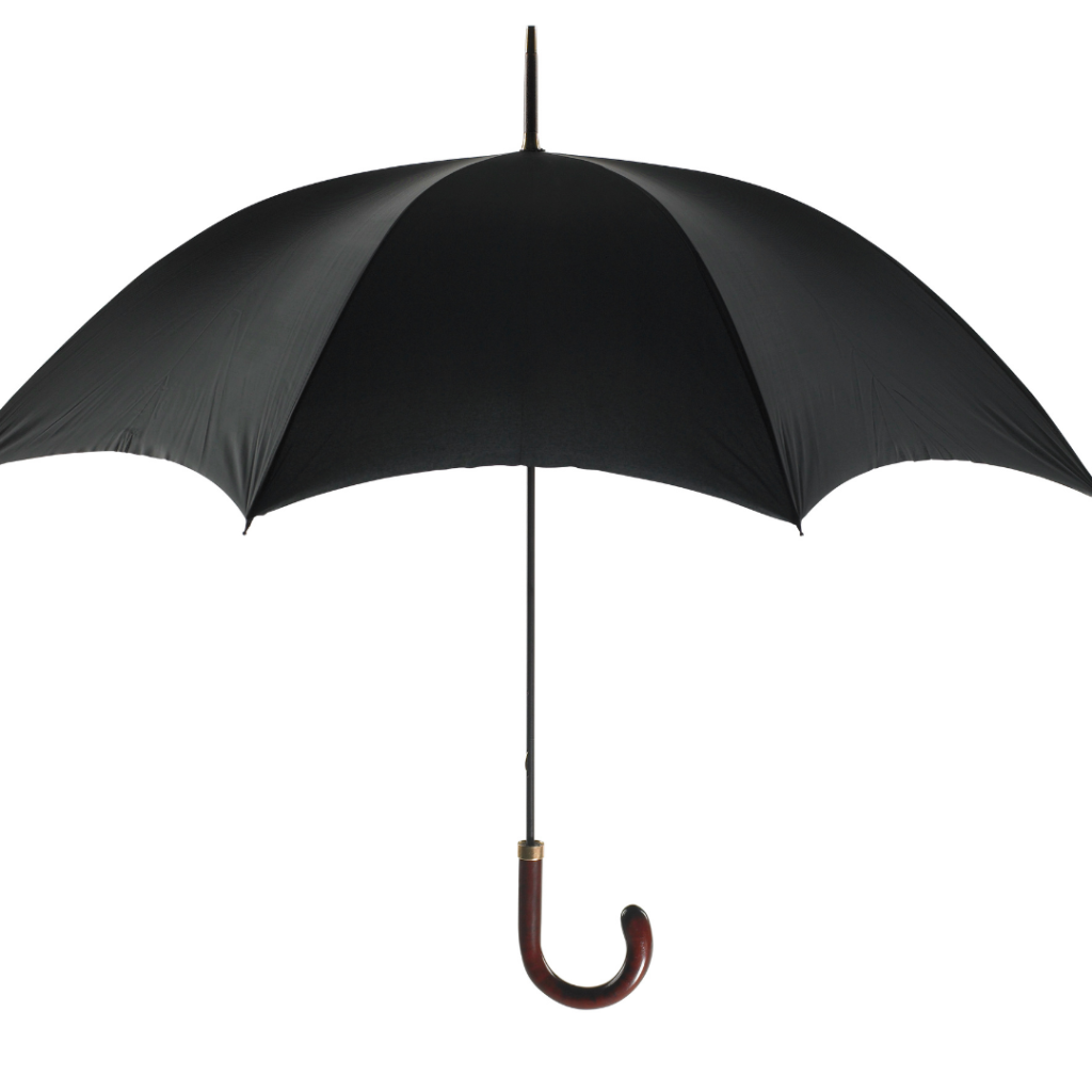 A black umbrella with a u-shaped wooden handle