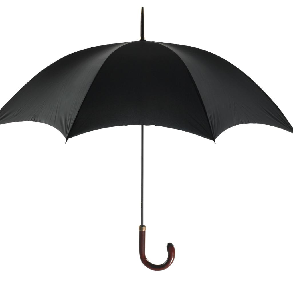 A black umbrella with a u-shaped wooden handle