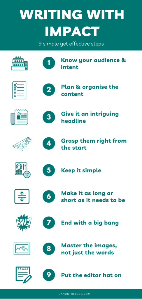 An infographic titled 'Writing for impact - 9 simple yet effective steps. janontheblog.com