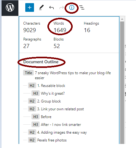 WordPress snapshot showing how to get to the Details option