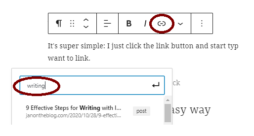 A WordPress snapshot showing the Link button