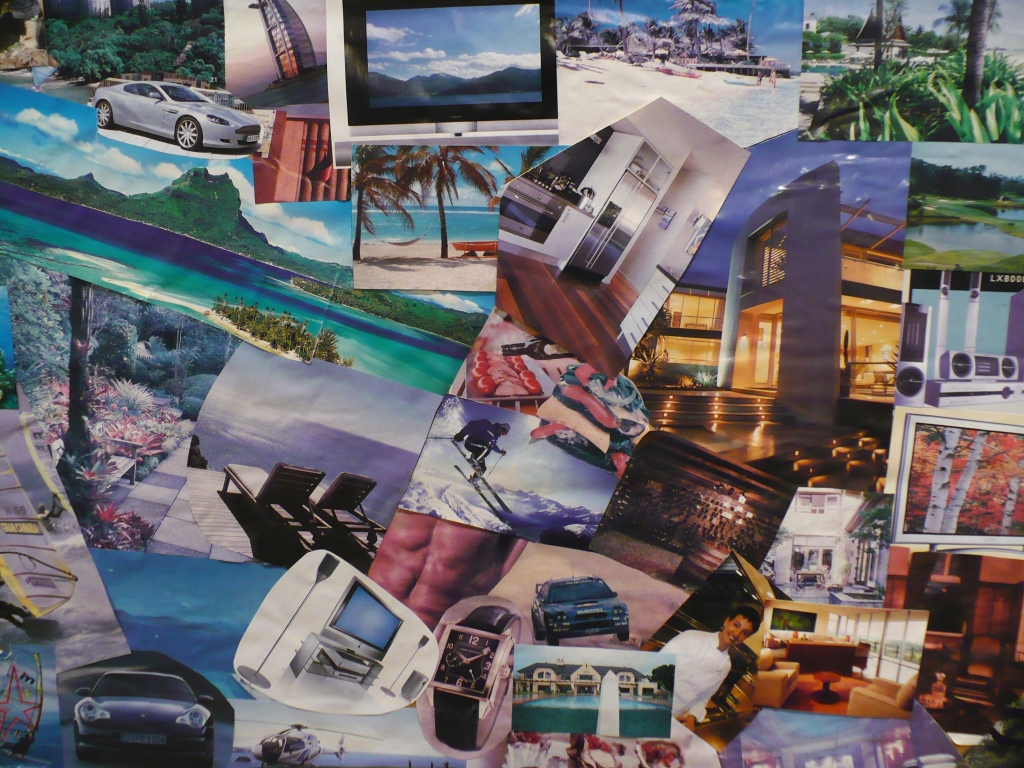 A vision board or a collage of various images