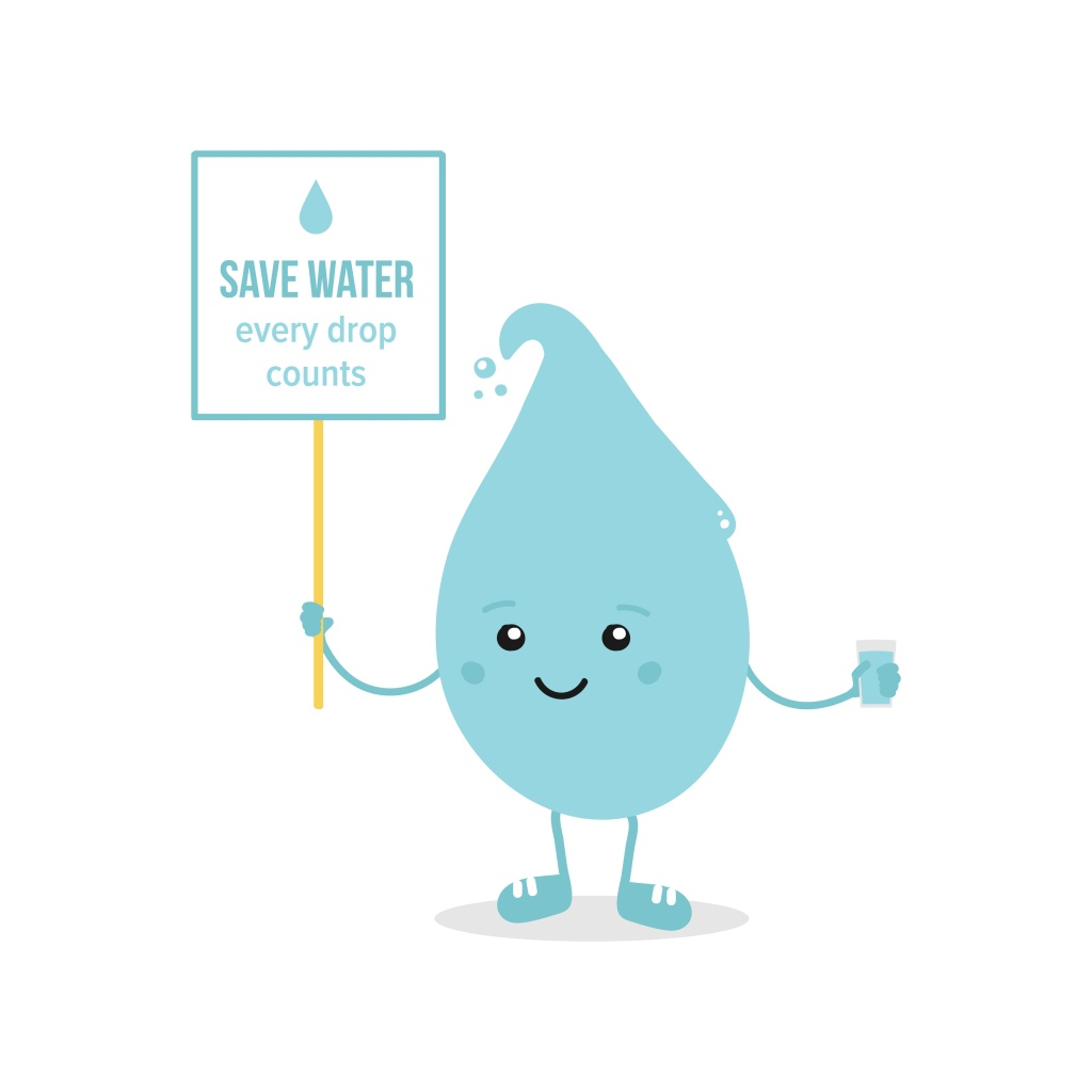 Cartoon image of a drop of water holding a board that reads 'save water, every drop counts'