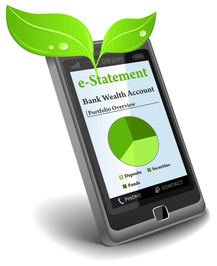 Picture of a mobile with two green leaves coming out of it. Text on the phone screen reads 'e-statement...'